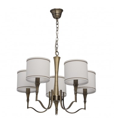brass color/ metal fabric cream+gold /color lampshade 5*60W E14 2700 К