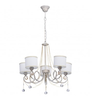 white + gold color/ metal white color / fabric lampshade transparent /crystal 5*40W E14 2700К