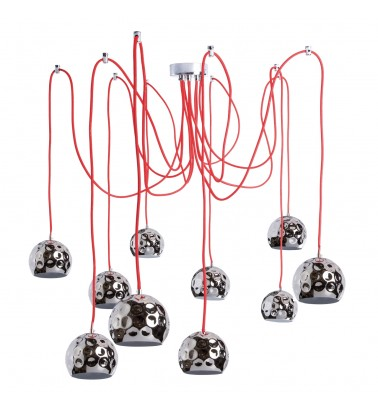 chrome color/metal chrome color lampshade fabric red wire 10*10W E14 2700K